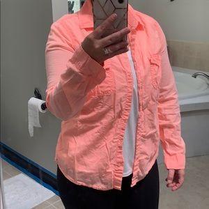 Neon orange button up